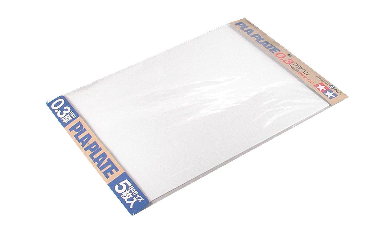 Tamiya 70122Plastic Panel 0.3mm, 5Pieces, 257x 364mm, White