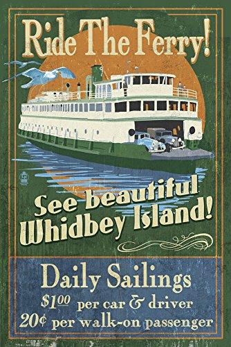 Whidbey Island, Washington - Ferry Vintage Sign Art Print, Wall Decor Travel Poster