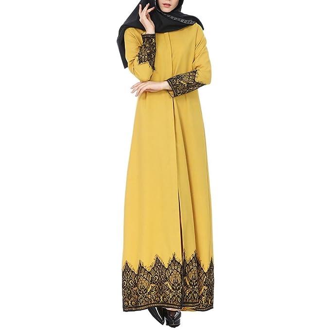 Mitlfuny Frauen Kimono Vorne Offene Spitze Jilbab Maxi Lose Robe ...