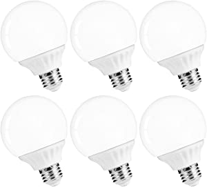 LOHAS LED Vanity Light Globe Bulbs, 40-45W Equivalent LED G25 Bulbs Daylight 5000k, Bathroom Vanity Lighting, 500Lm Lights E26 Edison Base for Home Bathroom Mirror Light Bulbs Not-Dimmable, 6Pack