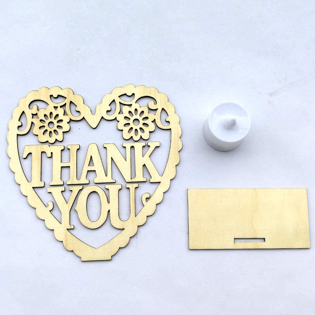 C, Yellow I Love You VEZARON 2019 DIY Heart-Shaped Wedding Party Wooden Plaque Ornaments with LED Lights Gift for Mr /& Mrs-Rustic Party Favor Decoration Craft Art Birthday Supplies