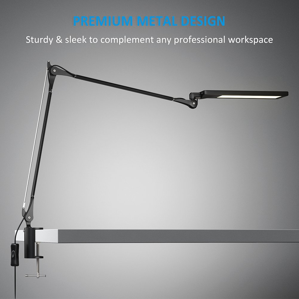 Led desk lamp clamp - Byb E476 Metal Architect Swing Arm Desk Lamp Dimmable Led Task Lamp With Clamp Eye Care Drafting Table Lamp 4 Lighting Modes 6 Level Dimmer
