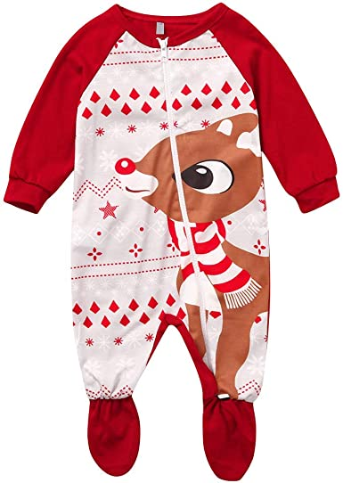 Baby Girls Christmas Outfits Long Sleeve Romper Deer Dress Top Jumpsuit Clothes Winter