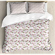 Vintage King Size Duvet Cover Set by Ambesonne, Magnolia Leaves with Greyscale Quatrefoil Pattern Background, Decorative 3 Piece Bedding Set with 2 Pillow Shams, Pale Grey Pale Pink Fern Green