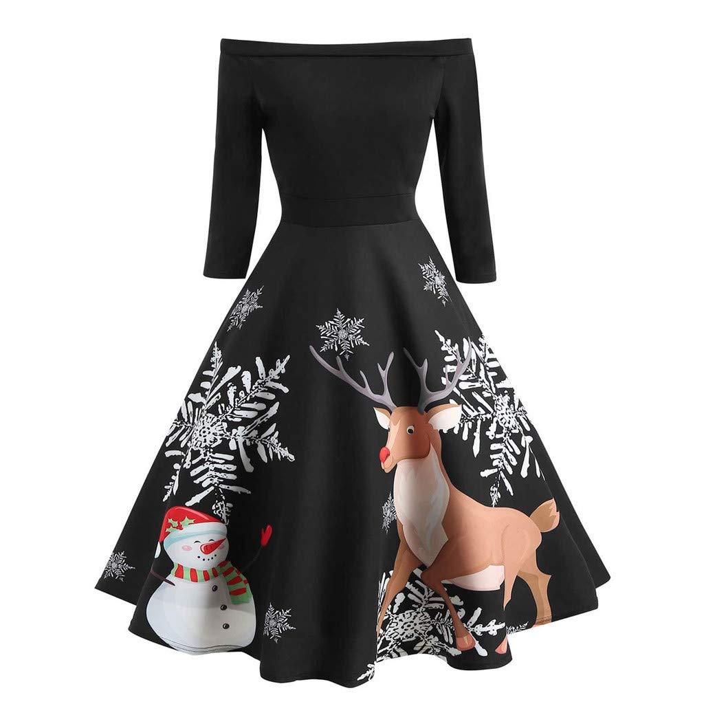 Zolimx Frauen aus Schulter Elch Print Retro Kleid Vintage Abend Party Kleid Flare Swing Kleid