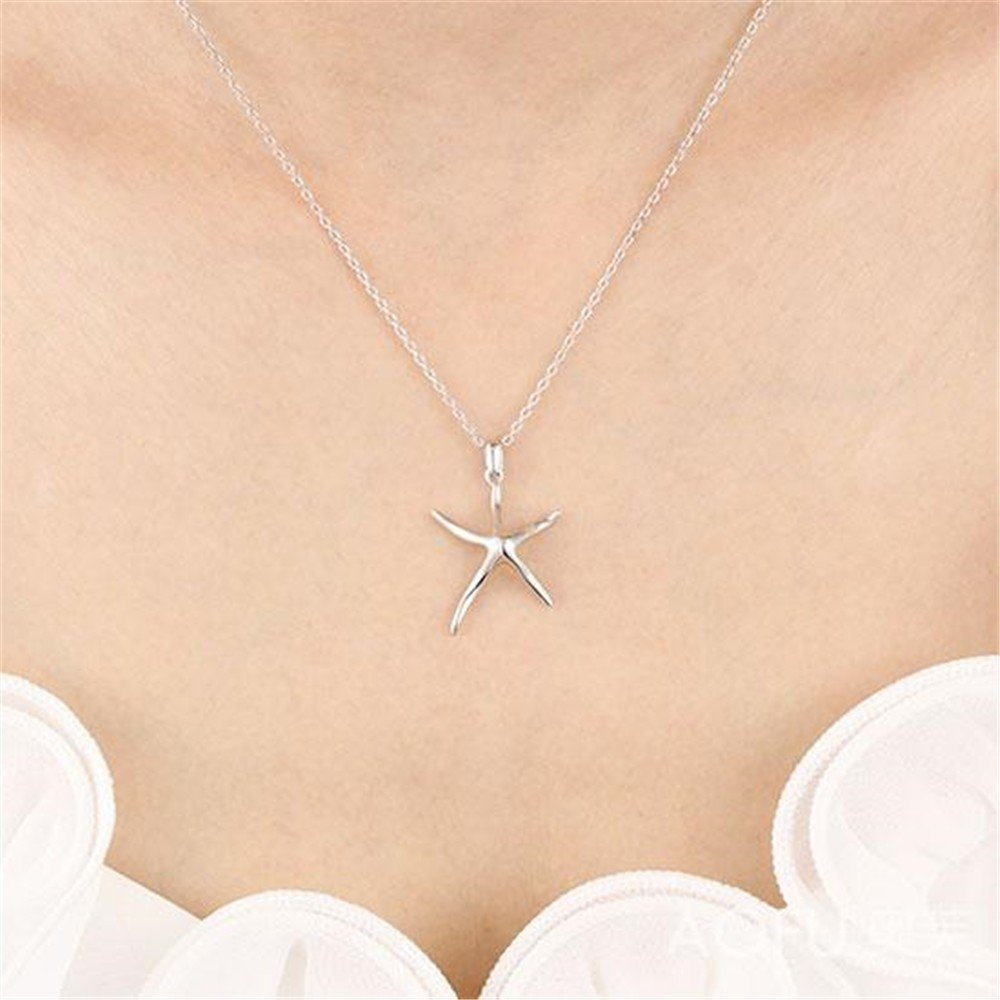 40cm Dana Carrie Women jewelry S925 Silver Necklace Small Starfish Pendant Personality Silver Jewelry Gift