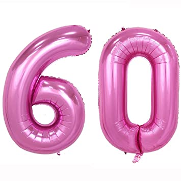 40inch Jumbo Rose Pink Foil Helium Digital Number Balloons Womens 60th Birthday Decoration For Lady