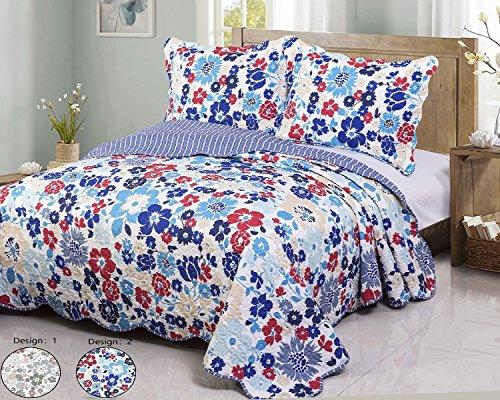 Disperse Printing Quilt Set Queen/Full Size -3-Piece Bedspre