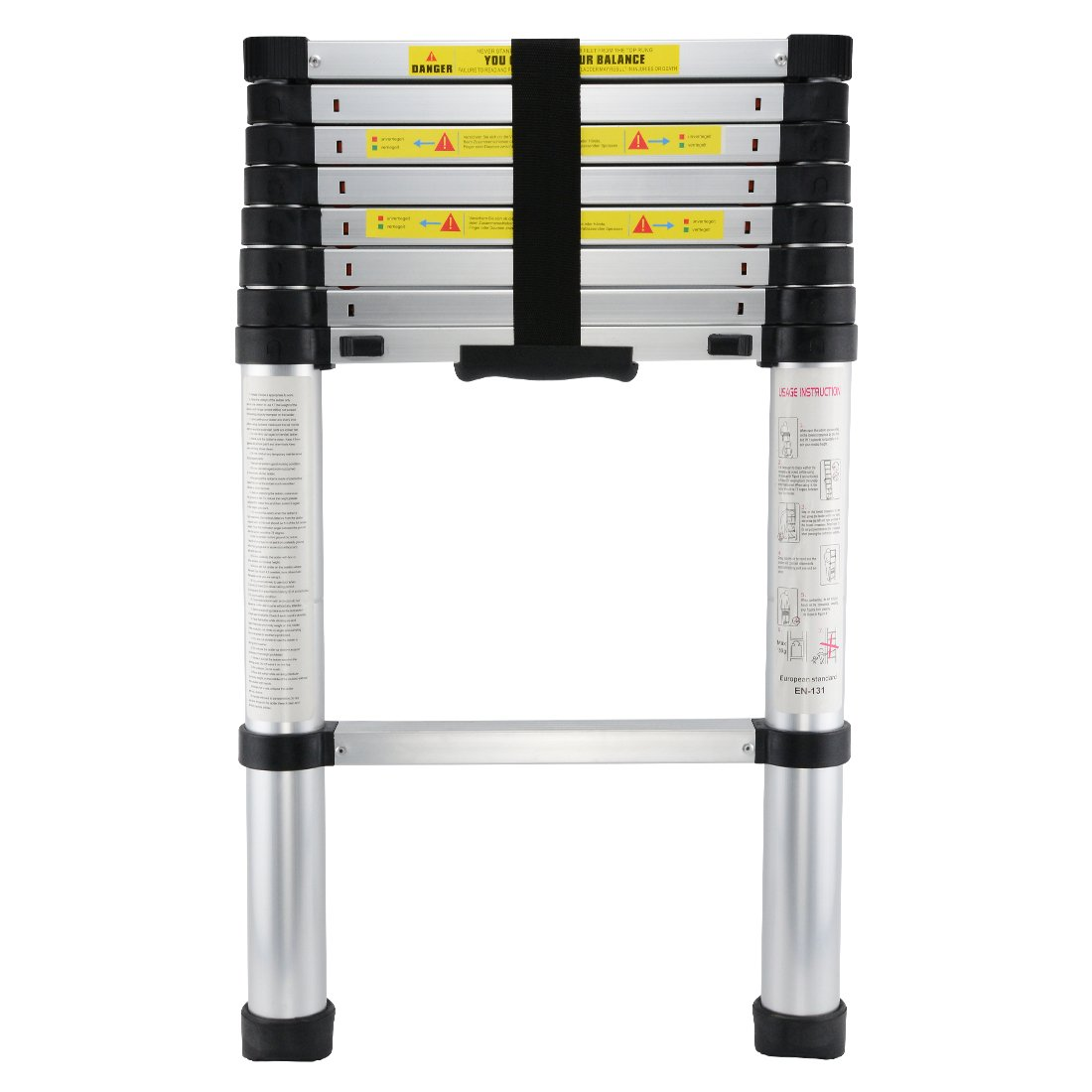 [Upgraded] 8.5ft Telescopic Extension Ladder with Spring Loaded Locking Mechanism Non-Slip - 330 lb Max