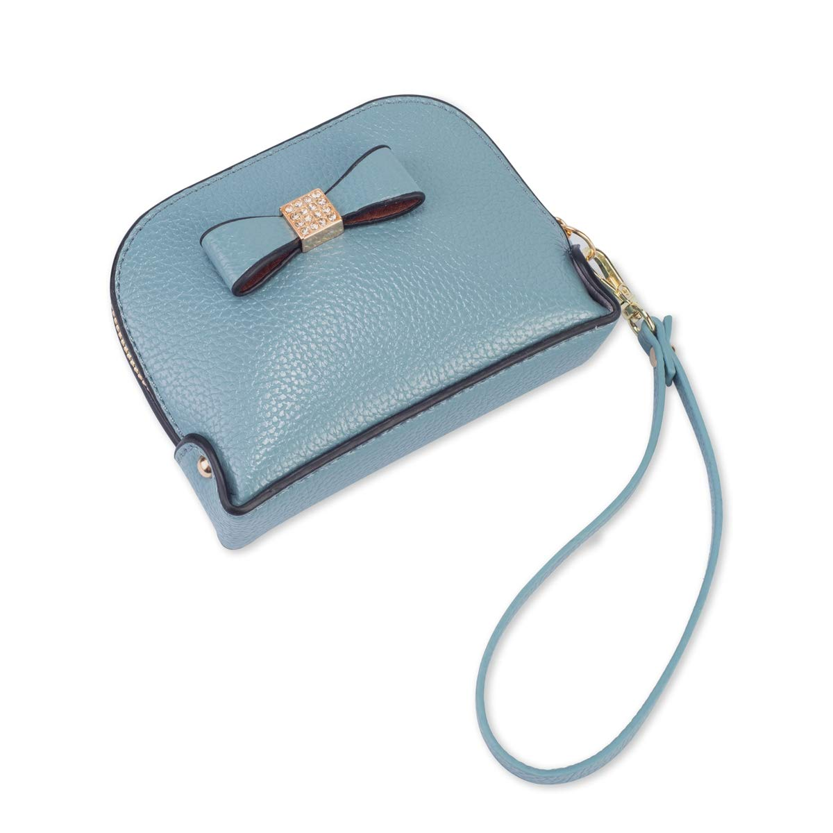 Coin Purse Wallet leather Wristlet Handbags with Wrist Strap Cute Mini Designer Pouch Great Gifts for Women Girls (Bow Blue) by JZE (Image #6)