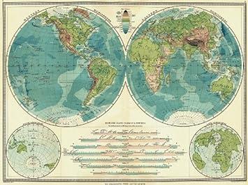 Amazon world hemispheres physical western hemisphere world hemispheres physical western hemisphere eastern water land 1907 gumiabroncs Choice Image