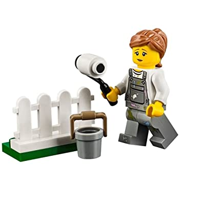 LEGO City Minifigure: Fence Painter (w/ Overalls w/ Paint Splatters) 60134: Toys & Games