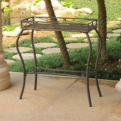 Amazon.com: Valencia steel-frame mimbre de resina, mesa ...