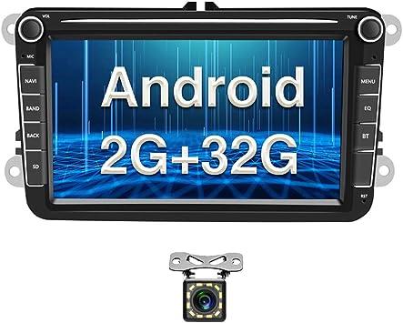 Radio para Coche Android para VW GPS 2G+32G Camecho 8 Pantalla Táctil Bluetooth Car Reproductor Estéreo WiFi FM Radio Receptor Dual USB para VW Golf ...