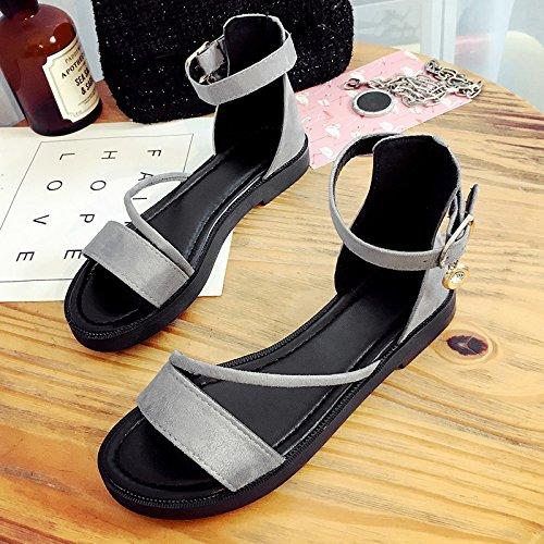 RUGAI-UE Sandalias de verano chica dedos del fondo plano un tono hebilla talón plano zapatos de mujer Gray