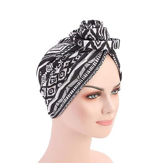f10b4a91cc7 DuoZan New Women s Cotton Flower Elastic Turban Beanie Head Wrap Chemo Cap  Hair Loss Hat (