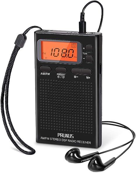 PRUNUS J-125 Radio Portatil Pequeña Digital con Auriculares,Radio Bolsillo AM/FM con Preajuste/Temporizador/Reloj Despertador,Funciona con 2 Pilas AAA,Estación de Bloqueo,para Trotar,Caminar,Viajar: Amazon.es: Electrónica