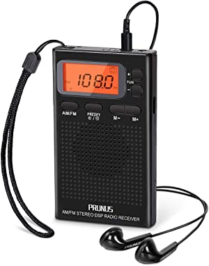 Portable AM FM Pocket Radio with Earphones, Digital Battery Operated Walkman Radio with Preset, Timer, Alarm Clock, Lock Station for Jogging, Walking, Traveling