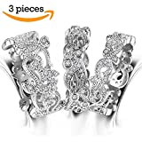 3 PCS Eternity Band Rings for Women - Leaf Swirl Wave Cubic Zirconia Jewelry Stackable Filigree Wedding Band Ring Sets