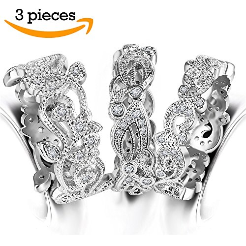 3 PCS Eternity Wedding Band Rings - Hollow Leaf Vine Wave Cubic Zirconia Filigree Engagement Stackable Ring Sets for Women