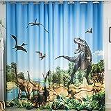 Wapel 3D Glacier Dinosaur Jurassic Cartoon Boy Boy Room Theme Room Background Wall Shade Curtain 240X260CM