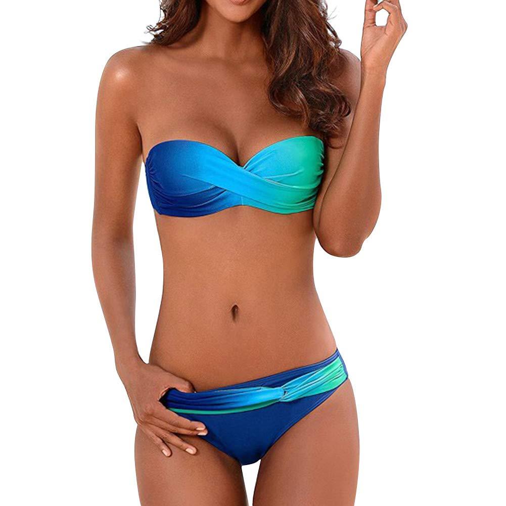 bluee 1 Sumtory Women Sexy Bikini Two Pieces Swimsuits Strapless Printed Swimwear