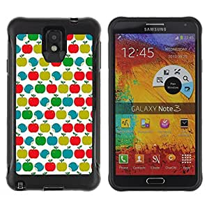 All-Round Hybrid Rubber Case Hard Cover Protective Accessory Compatible with SAMSUNG GALAXY NOTE 3 - pattern teal green red white clean