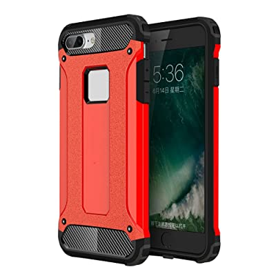 Skitic Etui Housse Coque Anti Choc pour Apple iPhone 7 Plus, 2 en 1 Hybride Armour Case TPU + PC Incassable Back Cover Rigide Coque de Protection pour Apple iPhone 7 Plus Smartphone 5.5 pouces 2016 - Rouge