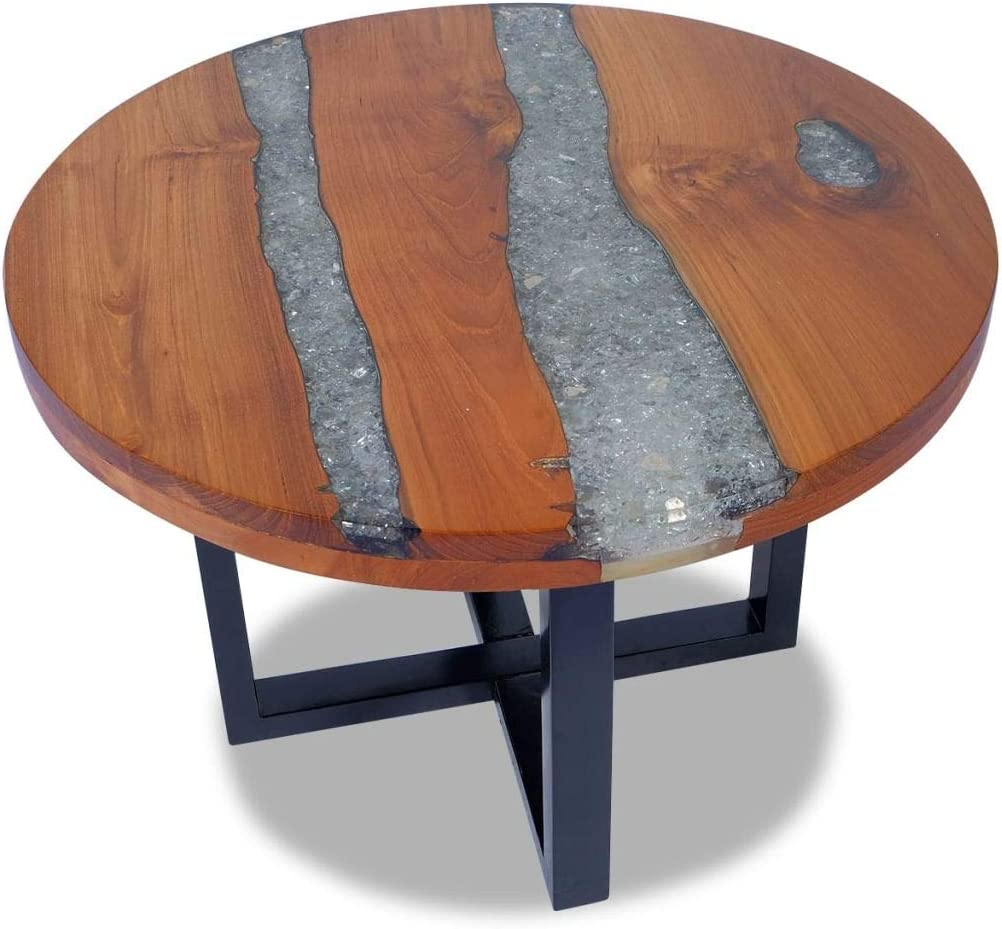 FAMIROSA Rustic Coffee Table Teak Wood Resin End Side Table Pure Handmade for Home Office Living Room