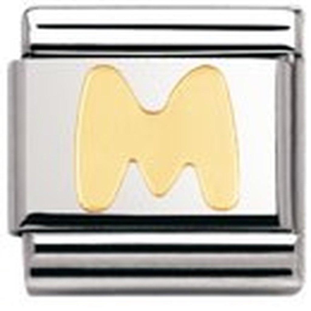 Nomination 030101 - Maillon pour bracelet composable Mixte - Lettre - Initiale - Acier inoxydable et Or jaune 18 cts