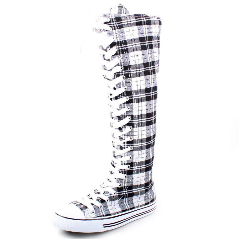New Fasion Women Canvas Sneakers Punk flat Skatter Knee High Lace up Shoes (7;5, Graffiti) B00Z45BSAM 9 B(M) US|Black/White Plaid