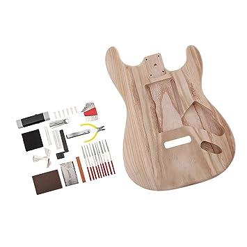 D DOLITY Cuerpo de Guitarra Inacabado Material de Barril Guitarra Eléctrica Piezas de Repuesto Cómodo