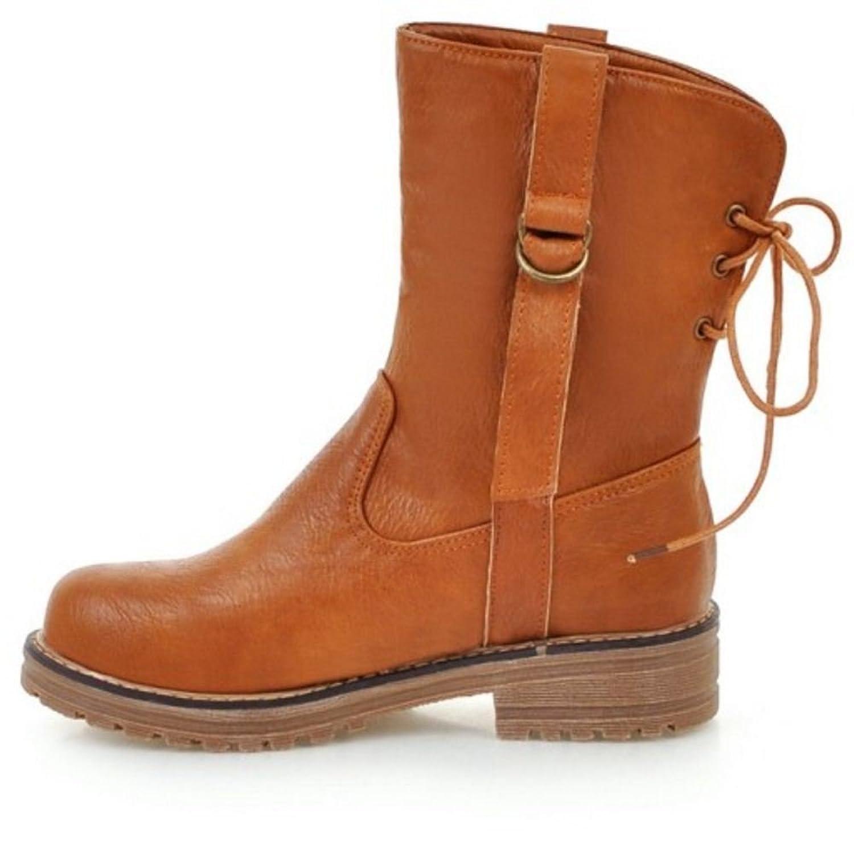 KemeKiss Women Fashion Block Low Heel Ankle High Western Boots
