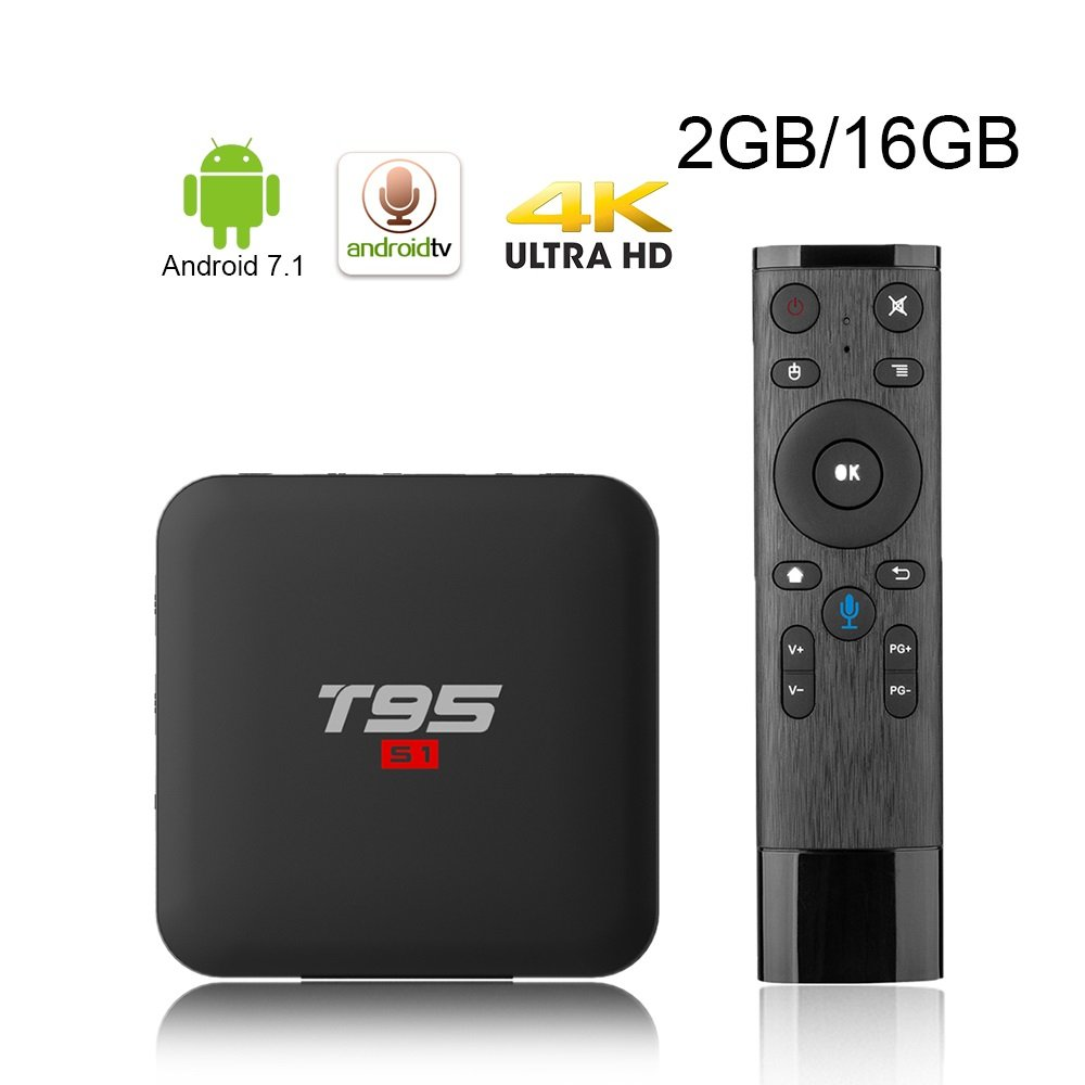 BuyMall 2018 Voice Remote Control T95 S1 Android 7.1 TV Box 2GB 16GB Amlogic S905W Quad Core 2.4GHz WiFi Player Smart Box 4K