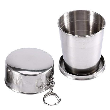 Puede ser un vaso de acero inoxidable de camping de excursión plegado telescópico (L)