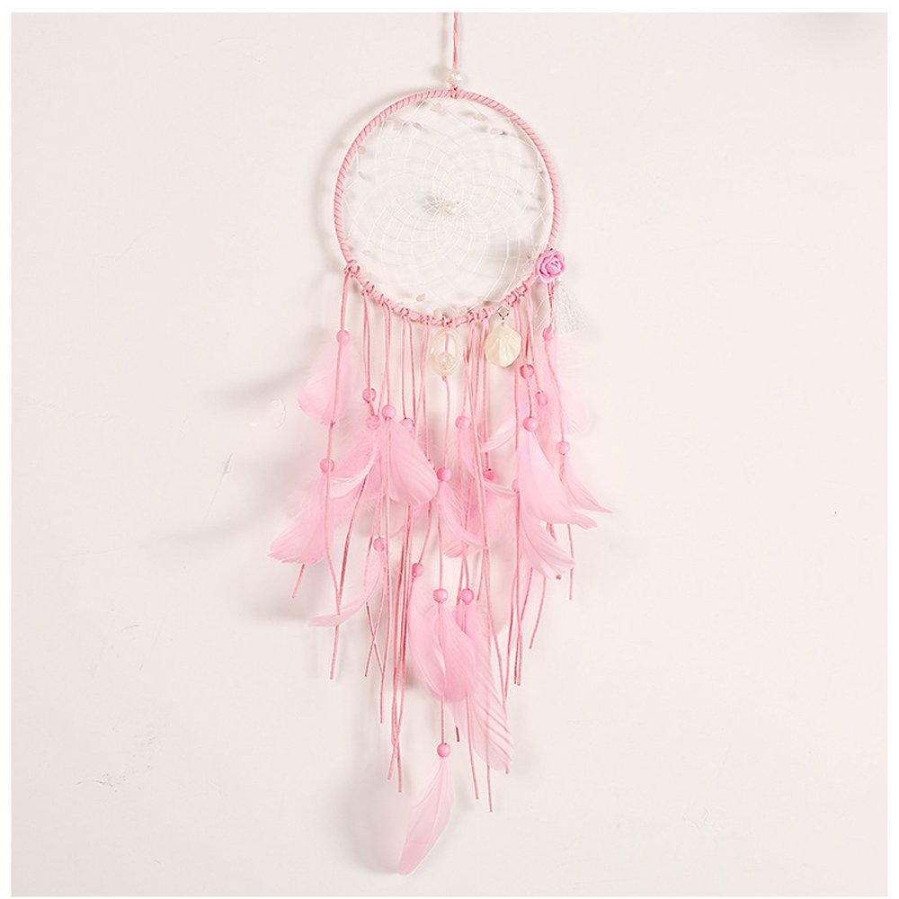 WCHUANG Pink Seashell Dream Catcher with Single Ring, Crfat Wall Hanging for Indoor Outdoor Use by WCHAUNG