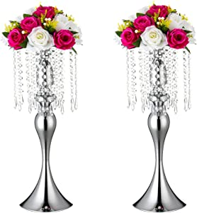 Set of 2 Wedding Flower Vases, Wedding Road-Leading Vases, Acrylic Crystal Flower Stands, Metal Centerpiece Vases for Home Engagement Anniversary Party Decor by Lovecat (Silver, 54cm Mermaid)