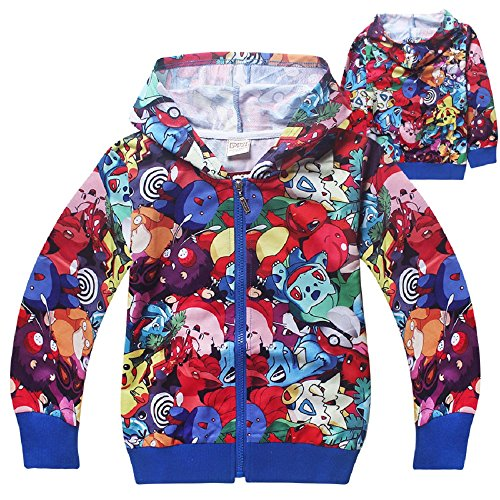 Girls Pikachu Pokemon Casual Cartoon Zipper Hoodie Sweatshirt Jacket Costume (5-6 years(Tag size 130))