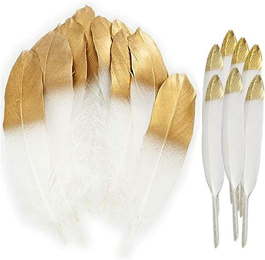 MagiDeal 24 St/ück nat/ürliche G/änsefeder Feder f/ür Handwerks dekoration 15-20cm Wei/ß Und Gold