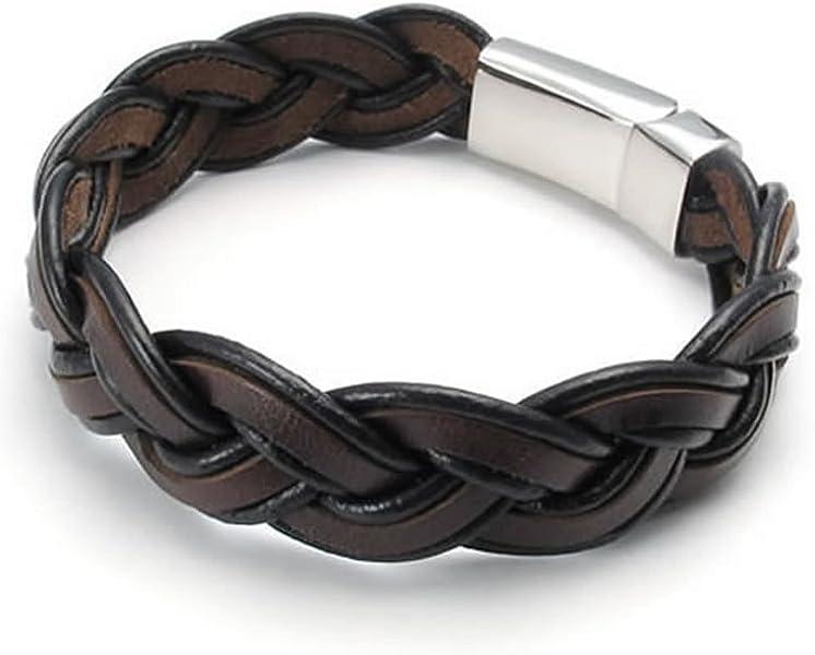 MENDINO Men/'s Stainless Steel Leather Bracelet Braided Ball Chain Bangle Black