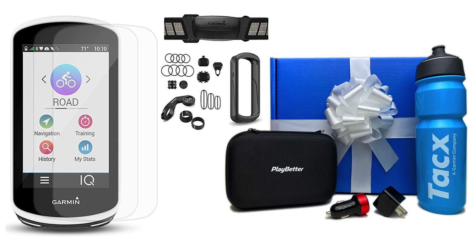 Garmin Edge 1030 Bike GPS Computer Beat Yesterday Gift Box Bundle TacX PlayBetter Water Bottle, PlayBetter Silicone Case, HD Screen Protectors, Adapters Hard Case Sensors Bundle, Black Case