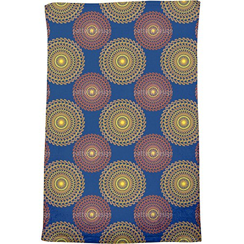 Solar Circles On Blue Bath Towel by uneekee