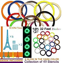 Kuman 3D Printer Pen Filament Refills - PLA 1.75mm Filament Fun Sampler Pack of 20 Different Colors in 32 Foot Lengths-including 3D Stencils ebook (PLA Material)