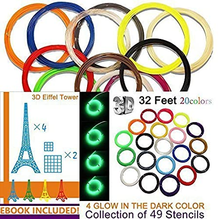 Kuman 3D Printer Pen Filament Refills - PLA 1.75mm Filament Fun Sampler Pack of 20 Different Colors in 32 Foot Lengths-including 3D Stencils ebook