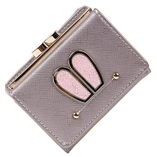 Women Leather Cute Bunny Ear Design Kiss-lock Short Wallet Coin Purse Card Holder ()