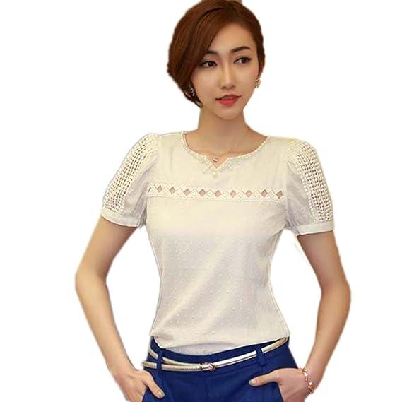 NINGNETI 1pc dama mujer encaje camisa de manga corta cuello en V gasa blusa tops muñeca: Amazon.es: Ropa y accesorios