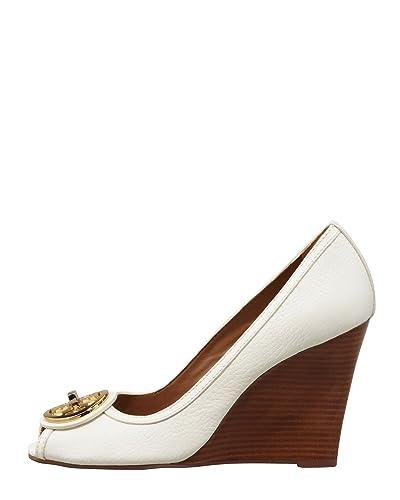 Tory Burch Selma Open Toe Wedge Tumbled Leather Wedge Shoes (10.5, white)