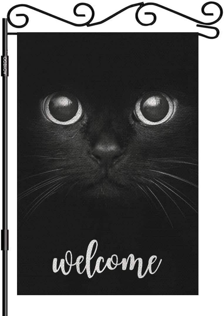 AOYEGO Cat Welcome Garden Flag Small Vertical Double Sided 12.5 x 18 Inch Black Cat Show Two Eyes Burlap Yard Outdoor Decor