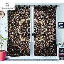 Black & Gold Tapestry Living Room Shower Curtains, For Bedroom Room Darkening Blackout Curtains, Hippie Balcony Sheer Room Divider Window Treatments & Valances Handmade Door Curtain 2 Panel Set