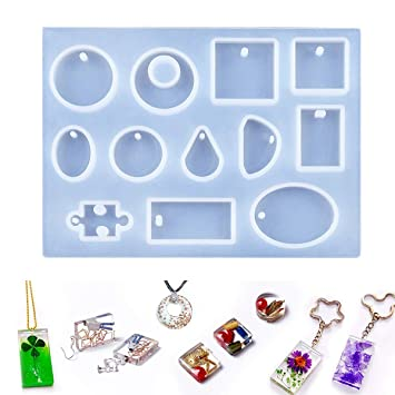 Jeteven Jewelry Casting Mold 12 Designs Cabochon Silicon Mould With Hanging  Hole For Resin Jewelry Making DIY Craft